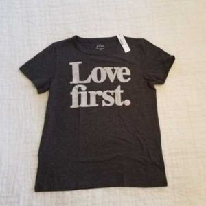 NWT J CREW LOVE FIRST HEATHER GREY T-SHIRT